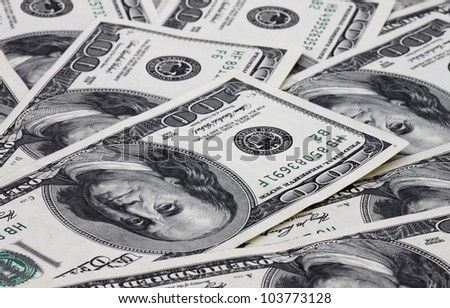 money: close up of one hundred dollars banknotes