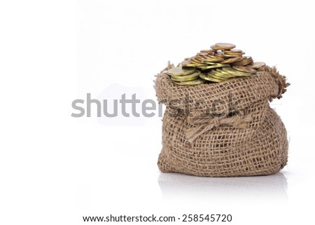 Money coin in the bag isolated on a white background. This has clipping path. - stock photo