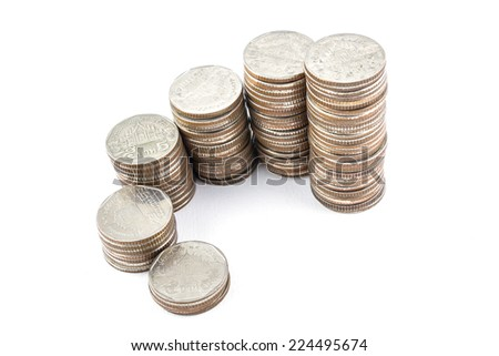 money coin isolated on white background - stock photo