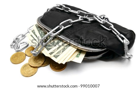 Money, coins and a purse with a chain. On a white background.