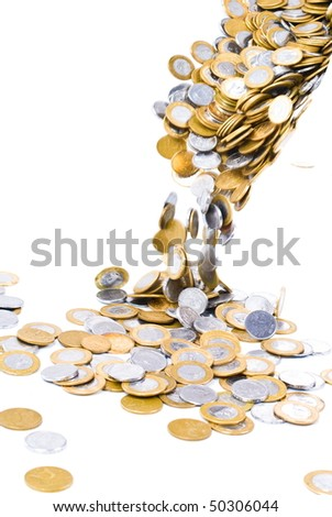 Money Coins fall on white background .