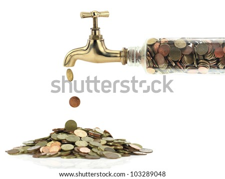 Money coins fall out of the golden tap - stock photo