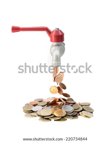 Money coins fall out of the tap, financial concept isolated on white background with clipping path - stock photo