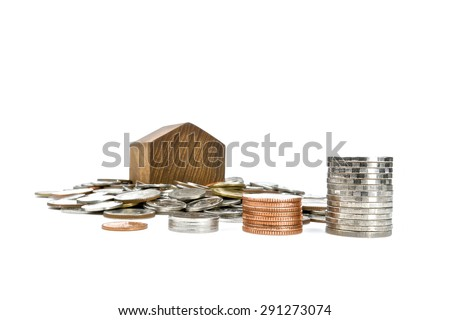 Money coins for loan home isolated on a white background, front view.