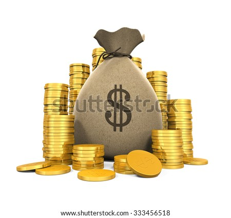 Money Coins in Bag - stock photo