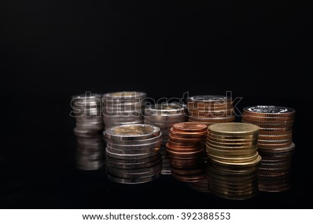 money coins on table