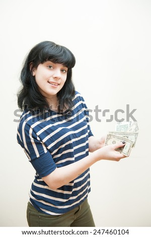 Money comes out from girl pocket in body part picture