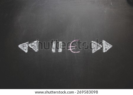 Money concept designed on black background like a system that can play, stop, rewind or reverse. Hand drawing drawn by colored chalk. Financial background.    - stock photo