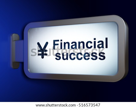 Money concept: Financial Success and Yen on advertising billboard background, 3D rendering