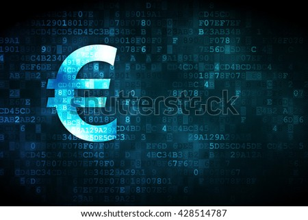 Money concept: pixelated Euro icon on digital background, empty copyspace for card, text, advertising