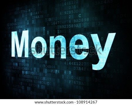 Money concept: pixelated words Money on digital screen, 3d render