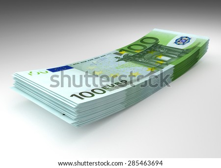 Money concept - stack of hundred euro banknotes