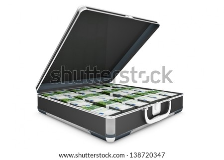 Money concept with briefcase and euro bills