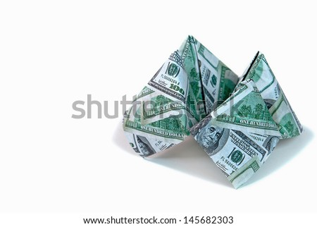 money cootie catcher isolated on white