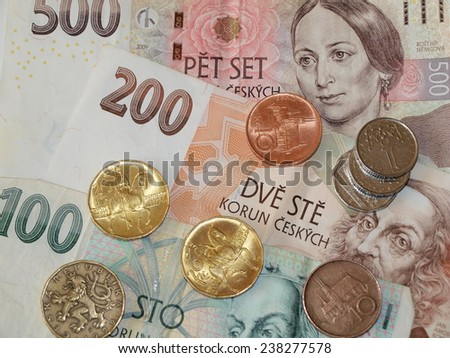 money Czech currency coins and banknotes - stock photo