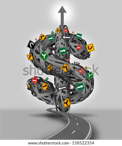 Money decisions business concept as a group of tangled roads with traffic signs shaped like a dollar sign as a financial guidance metaphor for the difficult journey and path to wealth and success. - stock photo