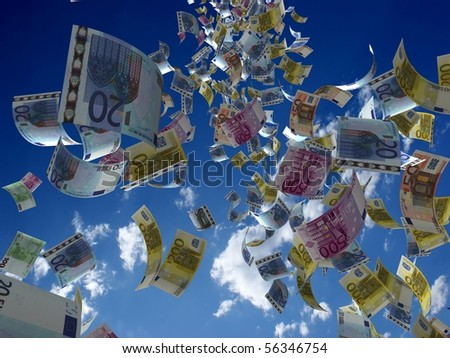 Money denominations on a background of the sky - stock photo