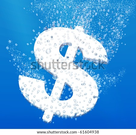 Money devaluation concept: dollar sign dissolving underwater - stock photo