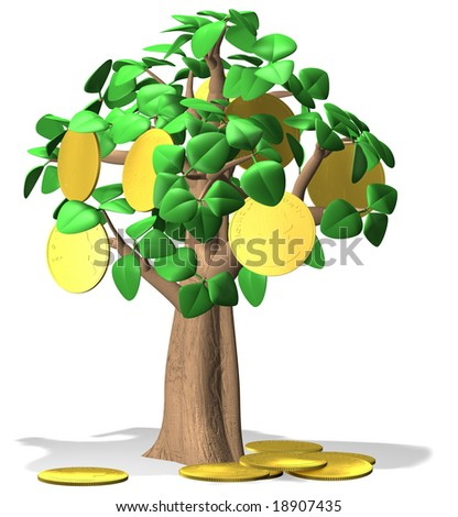 Money does grow on trees!  (Note: the gold coins have generic, unreadable markings. )