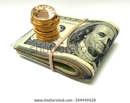 Money dollar bunch coins - stock photo