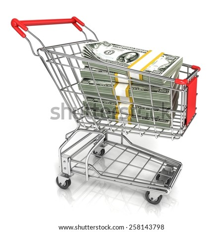 Money, dollar cash banknote, in trolley shopping cart. 3D rendering isolated on white background - stock photo