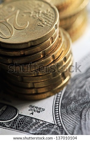 Money. Dollars and coin. - stock photo