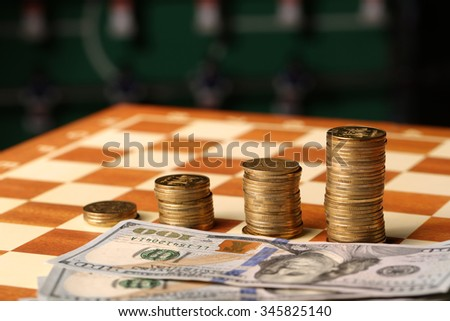 Money. Dollars and coin.. Finance concept co - stock photo