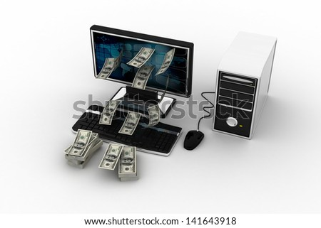 money dollars from computor isolated on white background - stock photo