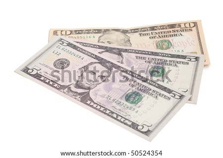 Money dollars isolated on a white background.