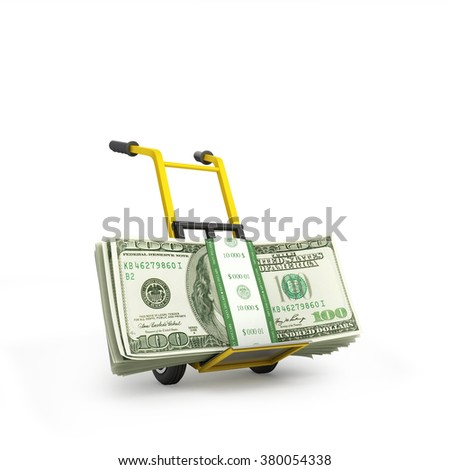 Money dollars on the hand truck isolated on white background - stock photo