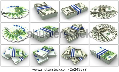 Money. Euro And Dollar. Collage. 3d - stock photo