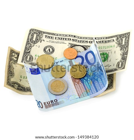 Money euro and dollars coins and banknotes isolated on white background