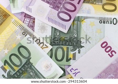 Money: Euro Banknotes - stock photo