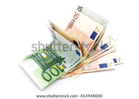 Money euro banknotes on white - stock photo