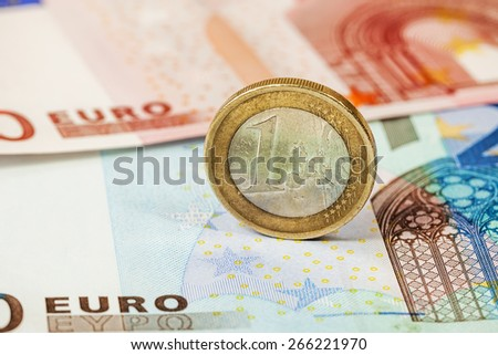 Money euro coin and banknotes - stock photo