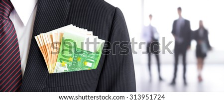 Money, Euro currency (EUR) banknotes, in businessman suit pocket on blur businesspeople background - business and financial panoramic (header) background concept - stock photo