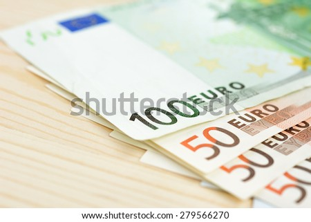 Money, Euro currency (EUR) bills - stock photo