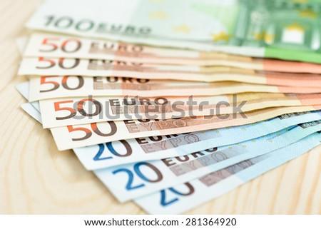 Money, Euro currency (EUR) bills - stock photo