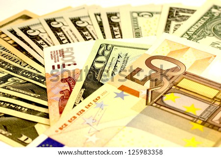money euro dollar scattering - stock photo