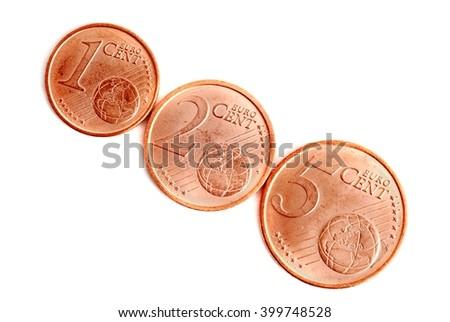 Money.  Euro money coins.  Euro money on white background. Euro money isolated on white.  - stock photo