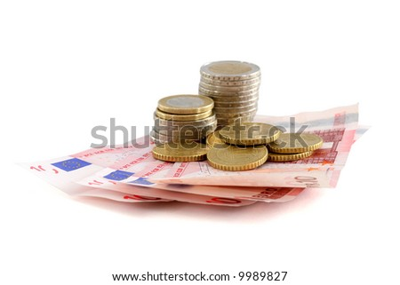 Money European money with banknotes and coins over white background.