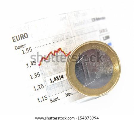Money Exchange Rate between Euro and Dollar - stock photo
