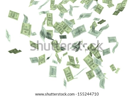 money falling isolated - stock photo