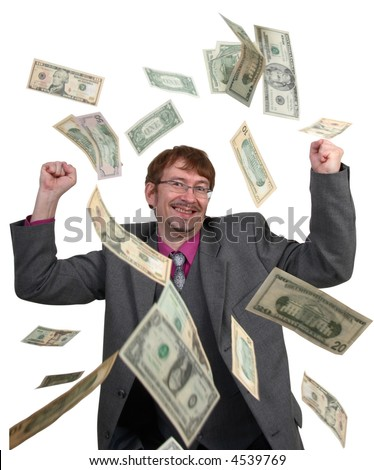 Money falling on businessman
