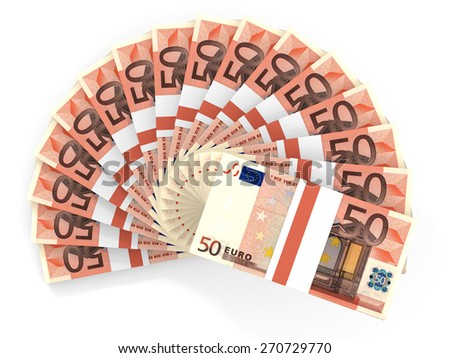 Money fan. Fifty euros. 3D illustration. - stock photo