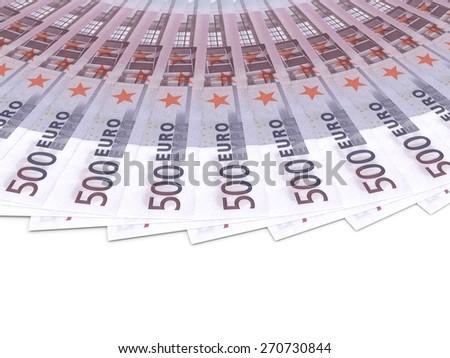 Money fan. Five hundred euros. 3D illustration. - stock photo