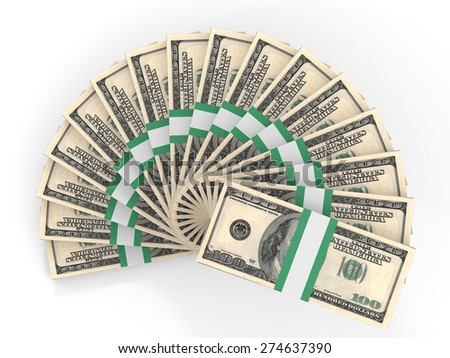 Money fan. One hundred dollars. 3D illustration. - stock photo