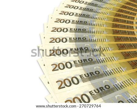 Money fan. Two hundred euros. 3D illustration. - stock photo