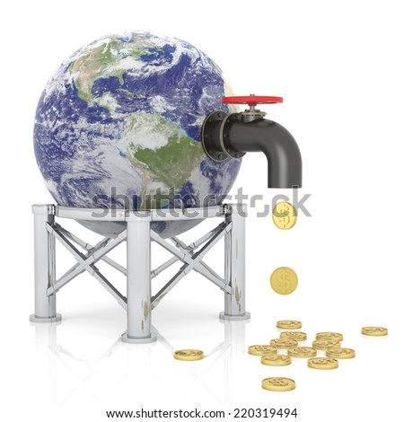 Money Faucet. 3D Rendering Source: http://visibleearth.nasa.gov/view_cat.php?categoryID=1484 - stock photo
