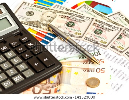Money, financial graphs and other business or stock stuff  - stock photo